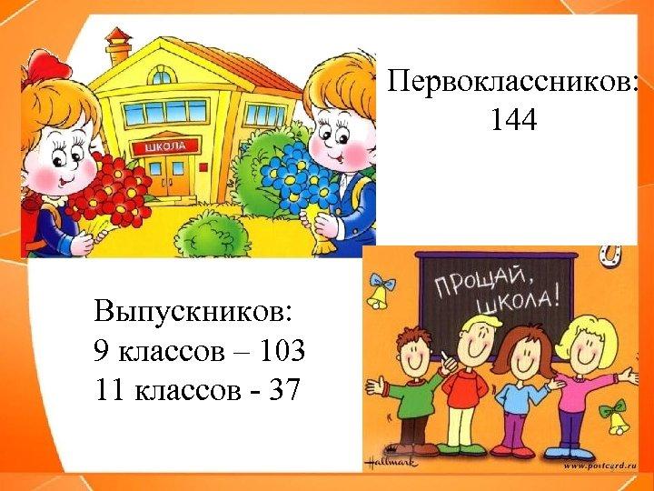 Первоклассников: 144 Выпускников: 9 классов – 103 11 классов - 37 3