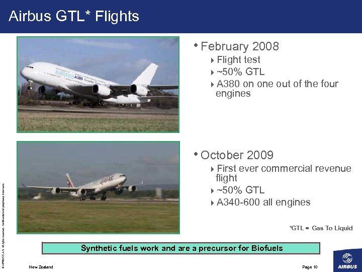 Airbus GTL* Flights • February 2008 4 Flight test 4~50% GTL 4 A 380