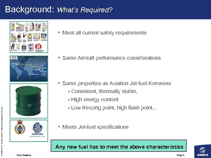 Background: What's Required? • Meet all current safety requirements • Same Aircraft performance considerations