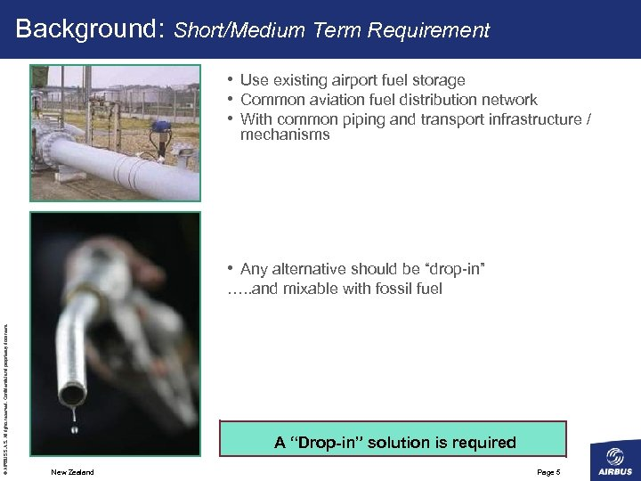 Background: Short/Medium Term Requirement • Use existing airport fuel storage • Common aviation fuel