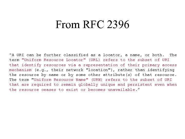 """From RFC 2396 """"A URI can be further classified as a locator, a name,"""