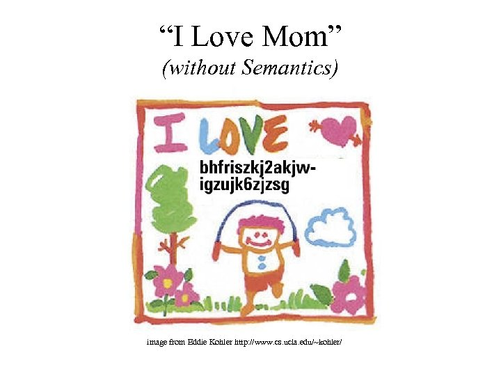 """I Love Mom"" (without Semantics) image from Eddie Kohler http: //www. cs. ucla. edu/~kohler/"