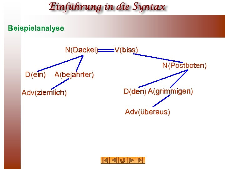 Beispielanalyse N(Dackel) Dackel V(biss) biss N(Postboten) Postboten D(ein) ein A(bejahrter) bejahrter ziemlich Adv(ziemlich) grimmigen