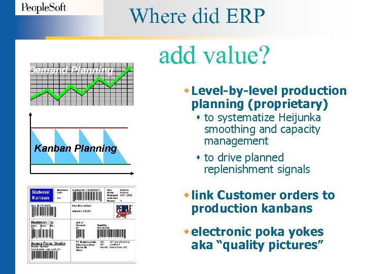 Where did ERP Demand Planning add value? w Level-by-level production planning (proprietary) Kanban Planning