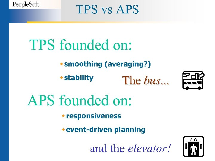 TPS vs APS TPS founded on: w smoothing (averaging? ) w stability The bus.