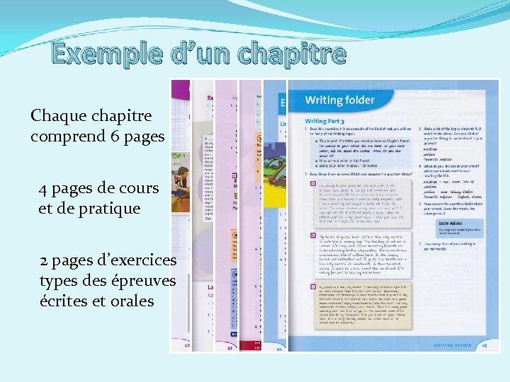 Exemple d'un chapitre Chaque chapitre comprend 6 pages 4 pages de cours et de