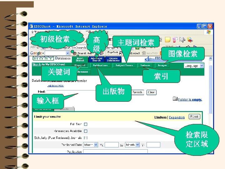 初级检索 高 级 主题词检索 图像检索 关键词 索引 出版物 输入框 检索限 定区域