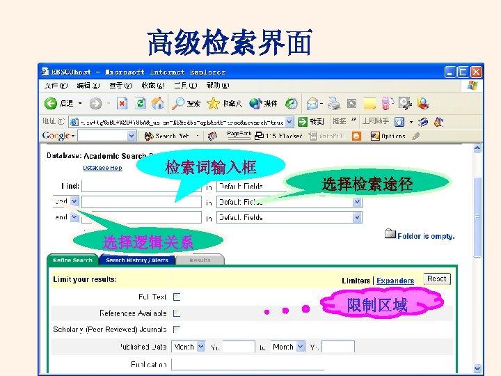 高级检索界面 检索词输入框 选择检索途径 选择逻辑关系 限制区域