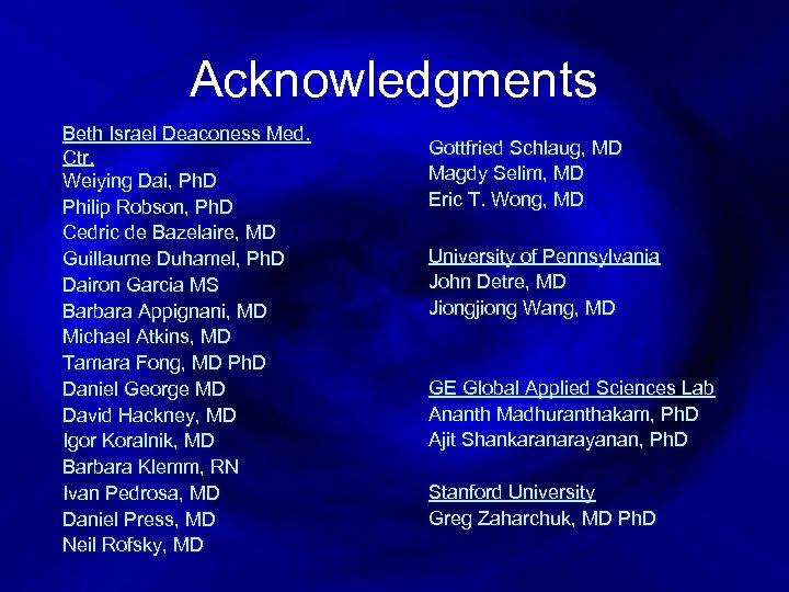 Acknowledgments Beth Israel Deaconess Med. Ctr. Weiying Dai, Ph. D Philip Robson, Ph. D