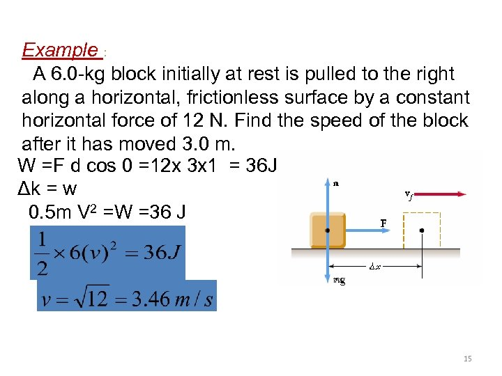 Example : A 6. 0 -kg block initially at rest is pulled to the