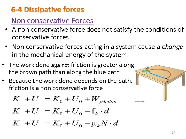 Non conservative Forces • A non conservative force does not satisfy the conditions of