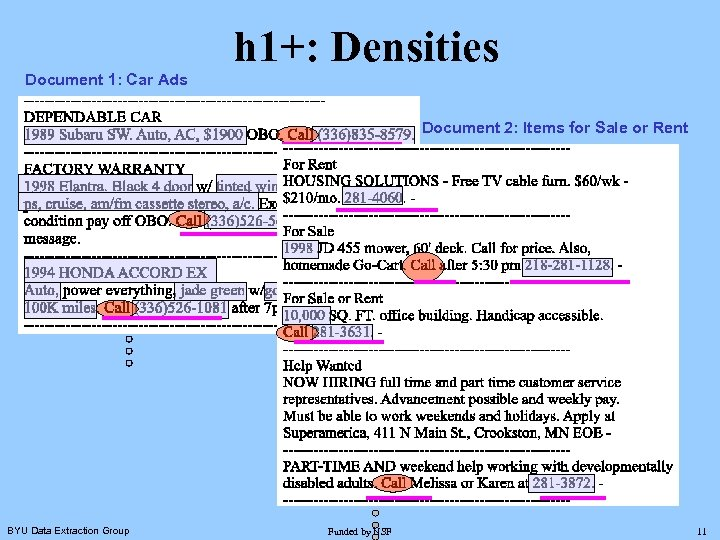h 1+: Densities Document 1: Car Ads Document 2: Items for Sale or Rent