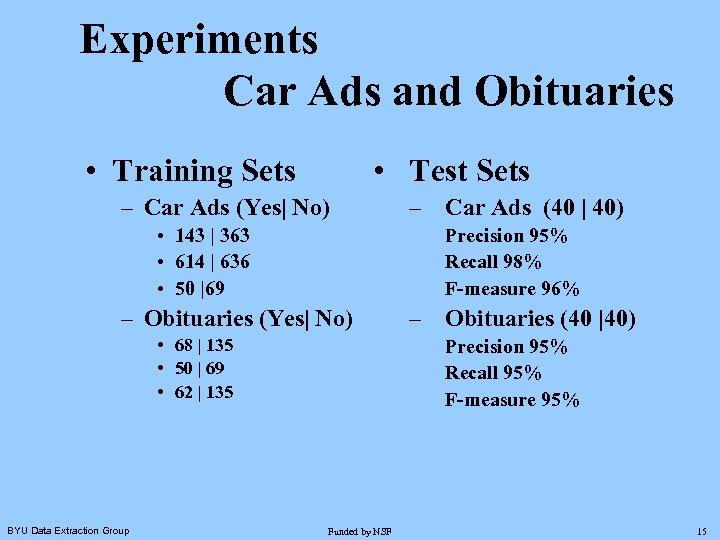 Experiments Car Ads and Obituaries • Training Sets • Test Sets – Car Ads