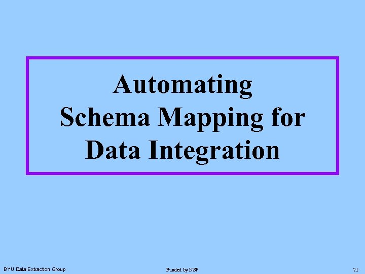 Automating Schema Mapping for Data Integration BYU Data Extraction Group Funded by NSF 21
