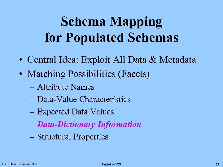 Schema Mapping for Populated Schemas • Central Idea: Exploit All Data & Metadata •