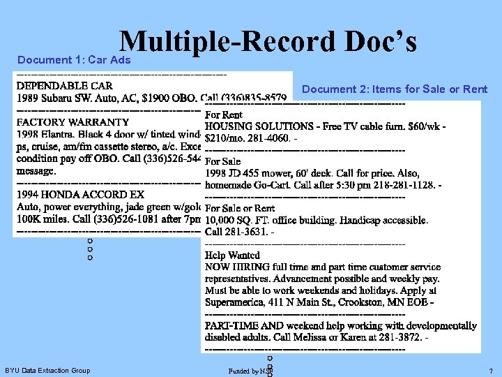Multiple-Record Doc's Document 1: Car Ads Document 2: Items for Sale or Rent BYU