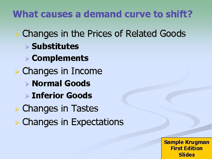What causes a demand curve to shift? Ø Changes in the Prices of Related