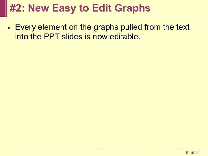 #2: New Easy to Edit Graphs § Every element on the graphs pulled from