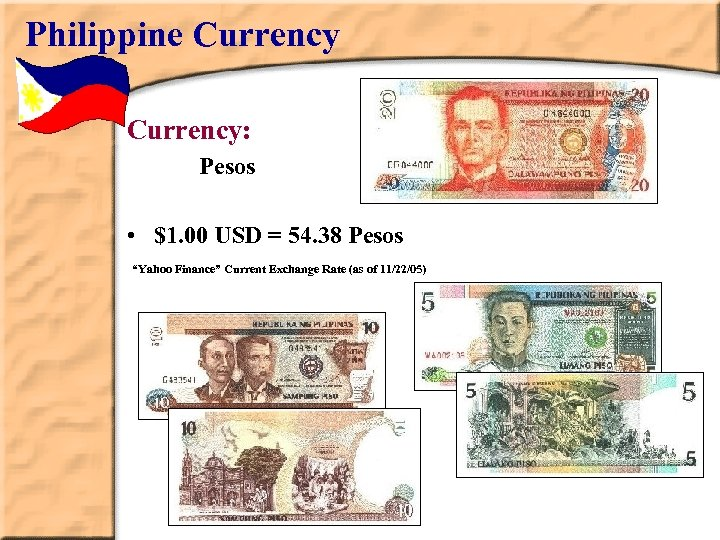 "Philippine Currency: Pesos • $1. 00 USD = 54. 38 Pesos ""Yahoo Finance"" Current"