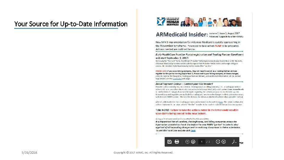 Your Source for Up-to-Date Information 3/19/2018 Copyright © 2017 AFMC, Inc. All Rights Reserved.