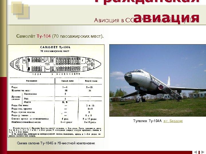 Гражданская Авиация в СССР: самолёты Ту-104 авиация Самолёт Ту-104 (70 пассажирских мест). Самолёт Ил-12