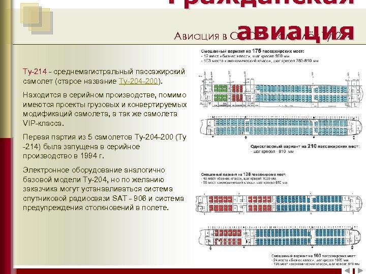 Гражданская Авиация в СССР: самолёт Ту-214 авиация Ту-214 - среднемагистральный пассажирский самолет (старое название