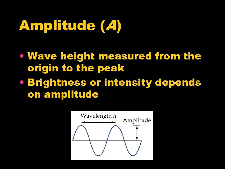 Amplitude (A) • Wave height measured from the origin to the peak • Brightness