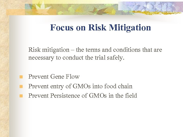 Focus on Risk Mitigation Risk mitigation – the terms and conditions that are necessary