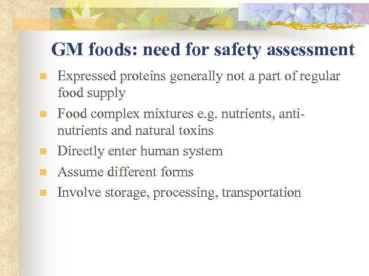 GM foods: need for safety assessment n n n Expressed proteins generally not a
