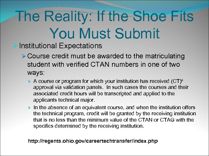 The Reality: If the Shoe Fits You Must Submit Ø Institutional Expectations Ø Course