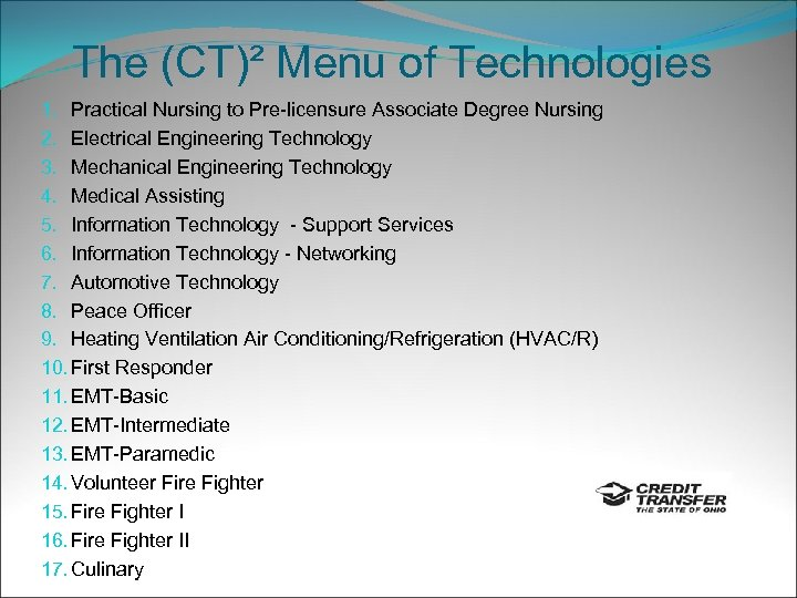 The (CT)² Menu of Technologies 1. Practical Nursing to Pre-licensure Associate Degree Nursing 2.