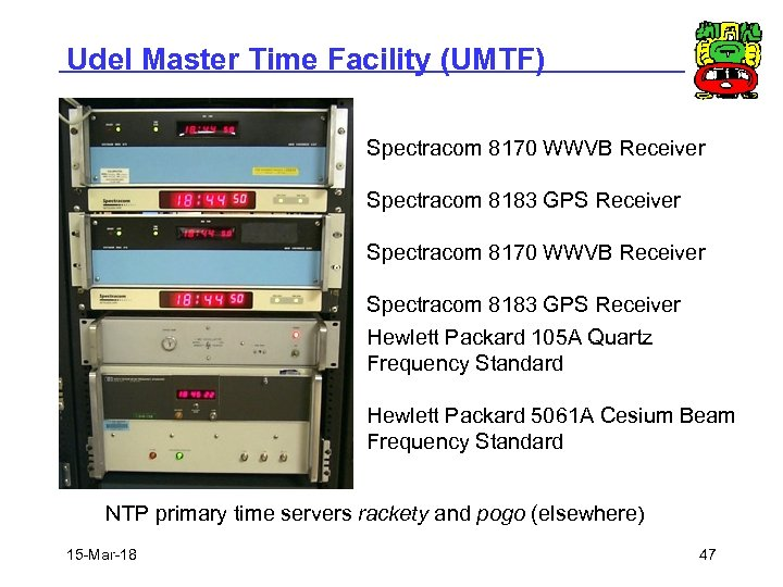 Udel Master Time Facility (UMTF) Spectracom 8170 WWVB Receiver Spectracom 8183 GPS Receiver Hewlett