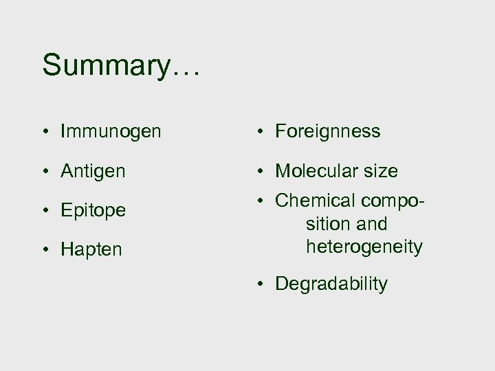 Summary… • Immunogen • Foreignness • Antigen • Molecular size • Epitope • Chemical