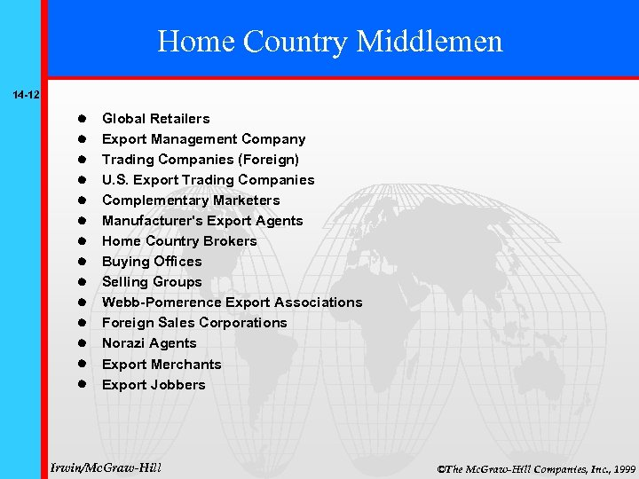 Home Country Middlemen 14 -12 Global Retailers Export Management Company Trading Companies (Foreign) U.