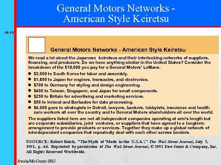 General Motors Networks American Style Keiretsu 14 -15 General Motors Networks - American Style