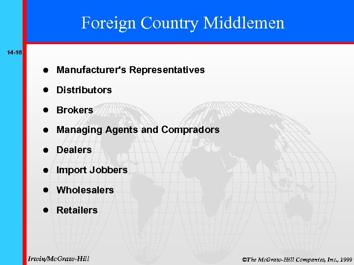 Foreign Country Middlemen 14 -16 Manufacturer's Representatives Distributors Brokers Managing Agents and Compradors Dealers