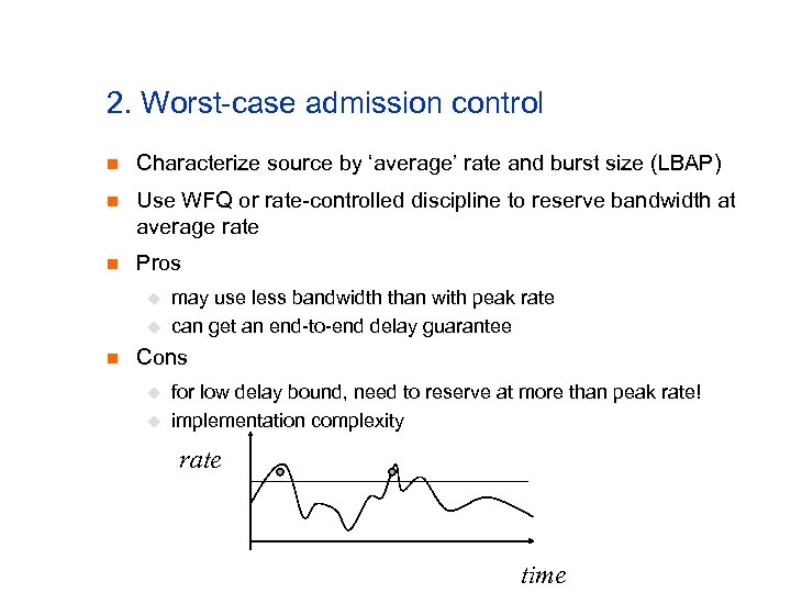 2. Worst-case admission control n Characterize source by 'average' rate and burst size (LBAP)