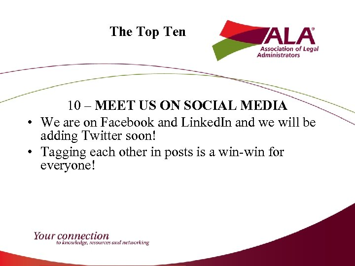 The Top Ten 10 – MEET US ON SOCIAL MEDIA • We are on
