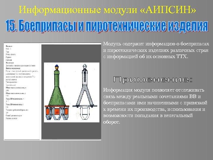 Информационные модули «АИПСИН» Модуль содержит информацию о боеприпасах и пиротехнических изделиях различных стран с