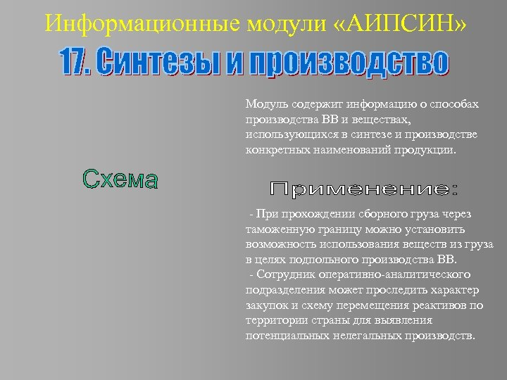 Информационные модули «АИПСИН» Модуль содержит информацию о способах производства ВВ и веществах, использующихся в