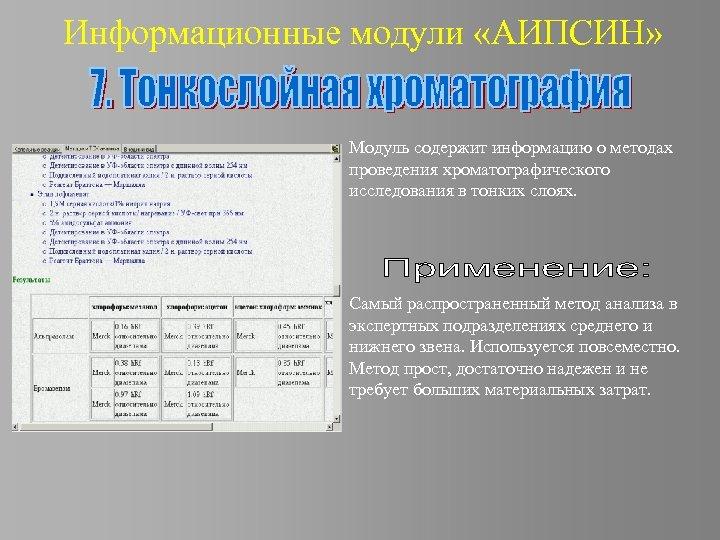 Информационные модули «АИПСИН» Модуль содержит информацию о методах проведения хроматографического исследования в тонких слоях.