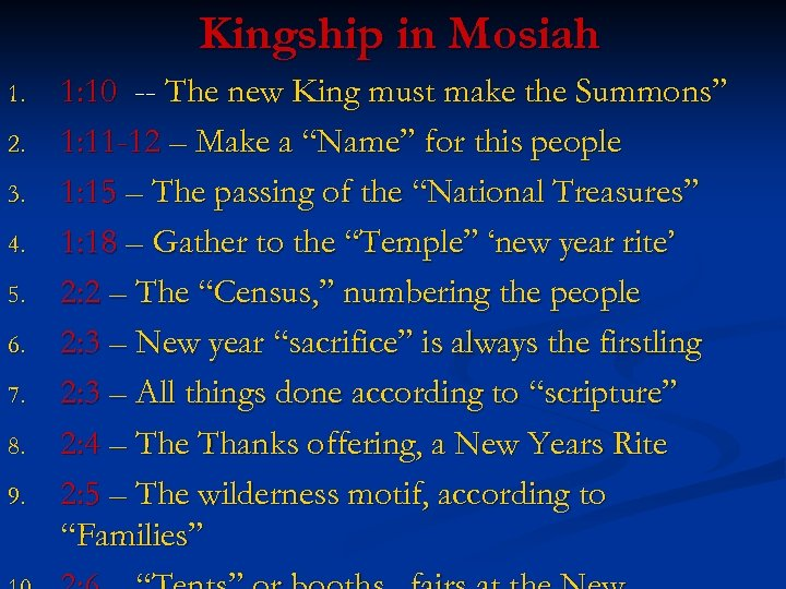 Kingship in Mosiah 1. 2. 3. 4. 5. 6. 7. 8. 9. 1: 10