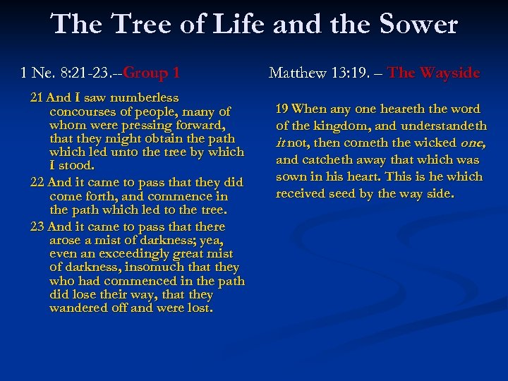 The Tree of Life and the Sower 1 Ne. 8: 21 -23. --Group 1