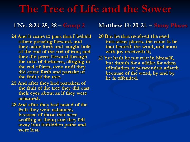 The Tree of Life and the Sower 1 Ne. 8: 24 -25, 28 –