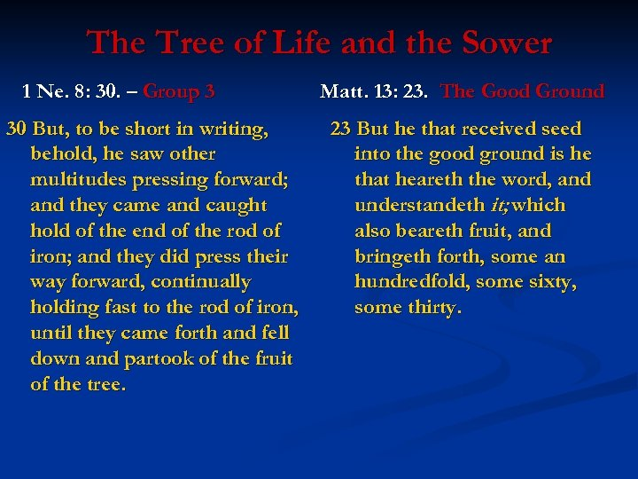The Tree of Life and the Sower 1 Ne. 8: 30. – Group 3