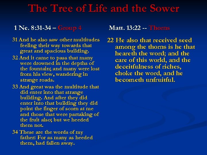 The Tree of Life and the Sower 1 Ne. 8: 31 -34 – Group