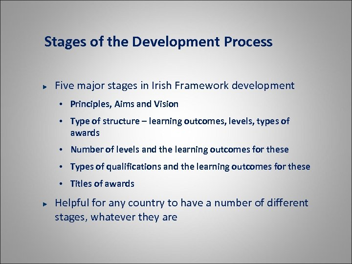 Stages of the Development Process Five major stages in Irish Framework development • Principles,