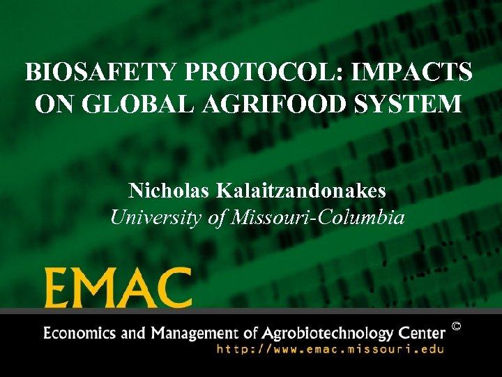 BIOSAFETY PROTOCOL: IMPACTS ON GLOBAL AGRIFOOD SYSTEM Nicholas Kalaitzandonakes University of Missouri-Columbia ©