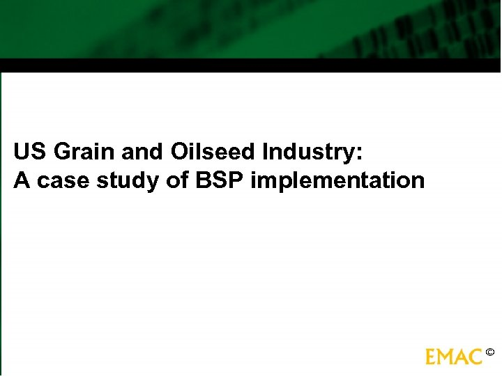 US Grain and Oilseed Industry: A case study of BSP implementation ©