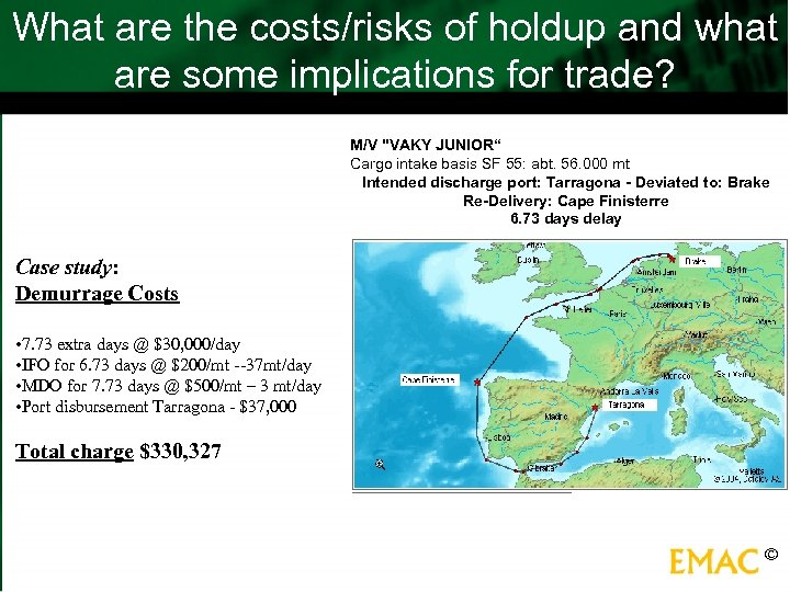 What are the costs/risks of holdup and what are some implications for trade? M/V